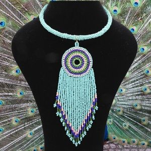 Jewelry - Bead Fringe Statement Dangle Tribal Boho Necklace